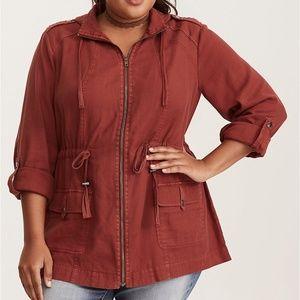 Torrid Red Textured Hooded Anorak Jacket Coat 3 3X